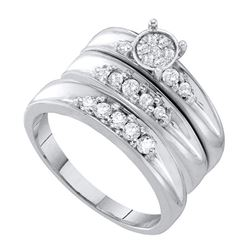 3/8 CTW His & Hers Round Diamond Cluster Matching Bridal Wedding Ring 10kt White Gold - REF-41X9T