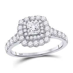 1 & 1/5 CTW Princess Diamond Solitaire Bridal Wedding Engagement Ring 14kt White Gold - REF-126Y3X