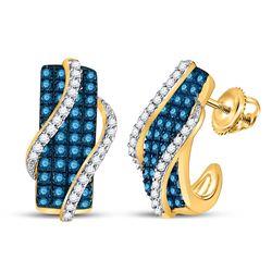 1 CTW Round Blue Color Enhanced Diamond Half J Hoop Earrings 10kt Yellow Gold - REF-45X3T