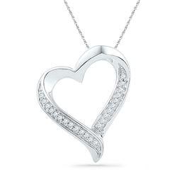 1/10 CTW Round Diamond Heart Pendant 10kt Yellow Gold - REF-10N8Y