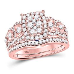 7/8 CTW Round Diamond Bridal Wedding Engagement Ring 14kt Rose Gold - REF-95K9R