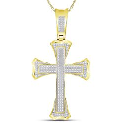 3/4 CTW Mens Round Diamond Flared Cross Charm Pendant 10kt Yellow Gold - REF-71T9K