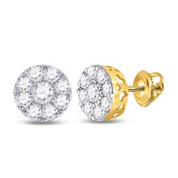 3/4 CTW Round Diamond Flower Cluster Earrings 14kt Yellow Gold - REF-47M9A