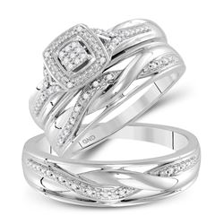 1/10 CTW His & Hers Round Diamond Cluster Matching Bridal Wedding Ring 10kt White Gold - REF-39N6Y
