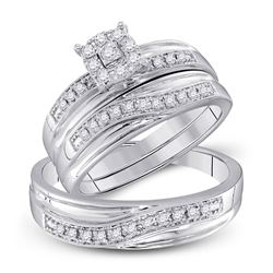 1/3 CTW His & Hers Round Diamond Solitaire Matching Bridal Wedding Ring 10kt White Gold - REF-37F5M