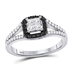 1/2 CTW Round Black Color Enhanced Diamond Cluster Ring 10kt White Gold - REF-30H3W