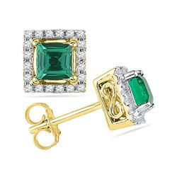 1/8 CTW Princess Lab-Created Emerald Solitaire Diamond Stud Earrings 10kt Yellow Gold - REF-14X4T