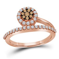 1/2 CTW Round Brown Diamond Cluster Ring 10kt Rose Gold - REF-35X9T