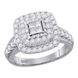 1 CTW Princess Diamond Square Cluster Bridal Wedding Engagement Ring 14kt White Gold - REF-83W9F