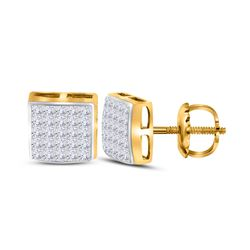 5/8 CTW Princess Diamond Square Earrings 14kt Yellow Gold - REF-35M9A