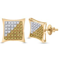 1/4 CTW Mens Round Yellow Color Enhanced Diamond Square Cluster Earrings 10kt Yellow Gold - REF-11F9