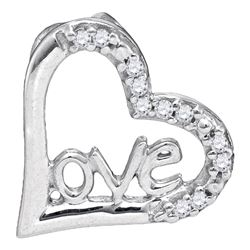 1/20 CTW Round Diamond Heart Pendant 10kt White Gold - REF-4M8A