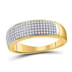 1/3 CTW Mens Round Diamond Wedding Ring 10kt Yellow Gold - REF-26M3A