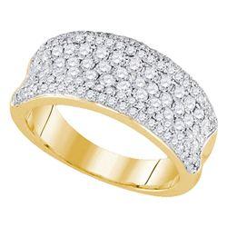 1 & 1/3 CTW Round Diamond Pave Wedding Anniversary Ring 14kt Yellow Gold - REF-120R3H