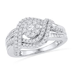 3/4 CTW Round Diamond Cluster Bridal Wedding Engagement Ring 10kt White Gold - REF-47K9R