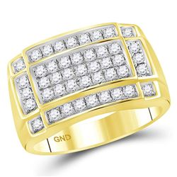 1 CTW Mens Round Diamond Rectangle Cluster Ring 10kt Yellow Gold - REF-69W5F