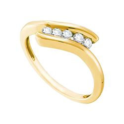 1/5 CTW Round Diamond 5-stone Promise Bridal Ring 10kt Yellow Gold - REF-16M8A