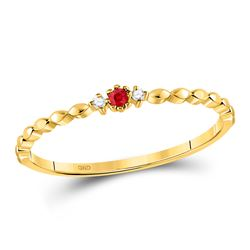 0.03 CTW Round Ruby Diamond Stackable Ring 10kt Yellow Gold - REF-5T9K