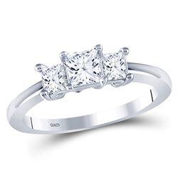 1 CTW Princess Diamond 3-stone Bridal Wedding Engagement Ring 14kt White Gold - REF-120W3F