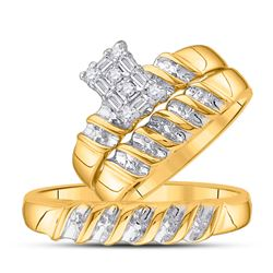 1/10 CTW His & Hers Round Diamond Cluster Matching Bridal Wedding Ring 14kt Yellow Gold - REF-33W3F