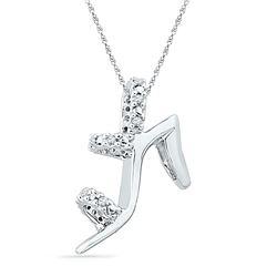 1/20 CTW Round Diamond Stiletto Shoe Pendant 10kt White Gold - REF-10A8N