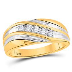 1/4 CTW Mens Round Diamond Wedding Ring 10kt Yellow Gold - REF-27X3T
