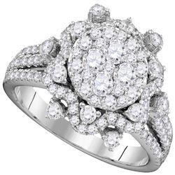1 & 5/8 CTW Round Diamond Cluster Bridal Wedding Engagement Ring 14kt White Gold - REF-153M5A