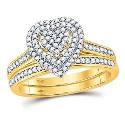 1/3 CTW Diamond Heart Bridal Wedding Engagement Ring 10kt Yellow Gold - REF-27T5K