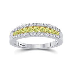 1/2 CTW Round Yellow Diamond Ring 14kt White Gold - REF-47H9W