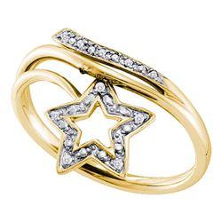 0.03 CTW Round Diamond Star Bypass Ring 10kt Yellow Gold - REF-11W9F