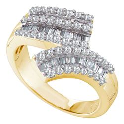7/8 CTW Round Baguette Diamond Bypass Ring 14kt Yellow Gold - REF-75N5Y