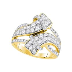 2 CTW Round Diamond Bypass Crossover Luxury Ring 14kt Yellow Gold - REF-137M9A