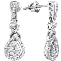 1/2 CTW Round Diamond Teardrop Cluster Dangle Earrings 10kt White Gold - REF-41T9K