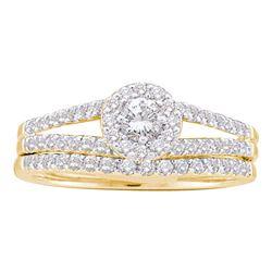 5/8 CTW Round Diamond Split-Shank Bridal Wedding Engagement Ring 14kt Yellow Gold - REF-57A3N
