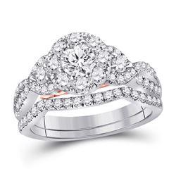 1 & 1/2 CTW Round Diamond Bridal Wedding Engagement Ring 14kt White Gold - REF-173X9T