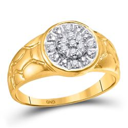 1/8 CTW Mens Round Diamond Cluster Nugget Ring 10kt Yellow Gold - REF-16T8K