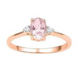 5/8 CTW Oval Lab-Created Morganite Solitaire Diamond Ring 10kt Rose Gold - REF-13M2A