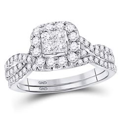 1 CTW Princess Diamond Bridal Wedding Engagement Ring 14kt White Gold - REF-71M9A