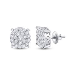 1 & 1/2 CTW Round Diamond Cluster Earrings 14kt White Gold - REF-93N3Y