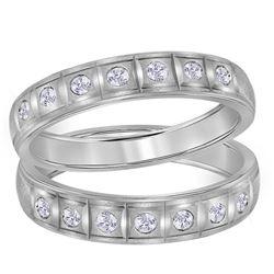 1/4 CTW His & Hers Round Diamond Matching Wedding Ring 14kt White Gold - REF-47F9M