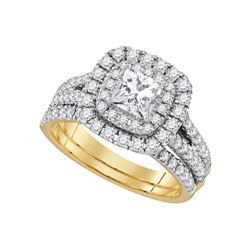 7/8 CTW Princess Diamond Solitaire Bridal Wedding Engagement Ring 14kt Yellow Gold - REF-383T9K