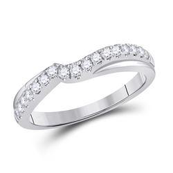 1/3 CTW Round Diamond Contour Wrap Ring 14kt White Gold - REF-35T9K