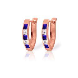 Genuine 1.26 ctw Sapphire & White Topaz Earrings 14KT Rose Gold - REF-26H2X