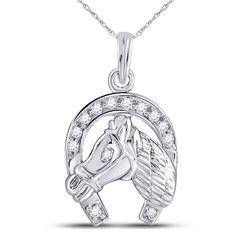 1/10 CTW Round Diamond Lucky Horseshoe Charm Pendant 10kt White Gold - REF-10W8F