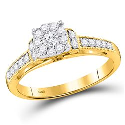 1/2 CTW Round Diamond Cluster Bridal Wedding Engagement Ring 10kt Yellow Gold - REF-39X3T