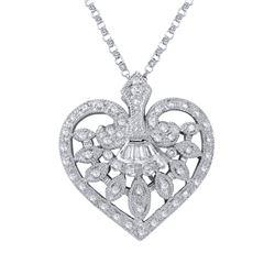 0.49 CTW Diamond Necklace 18K White Gold - REF-59X9R