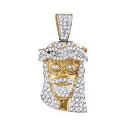 3/4 CTW Mens Round Diamond Jesus Face Charm Pendant 10kt Yellow Gold - REF-39Y6X