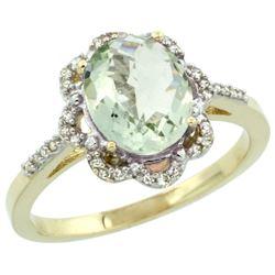 1.86 CTW Amethyst & Diamond Ring 10K Yellow Gold - REF-36M5K