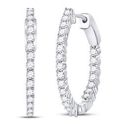 2 CTW Round Diamond Inside Outside Hoop Earrings 10kt White Gold - REF-113M9A
