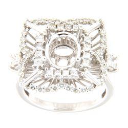 1.53 CTW Diamond Semi Mount Ring 14K White Gold - REF-195X3R